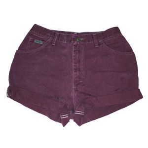 Vintage Burgundy High Waisted Cuffed Shorts 28